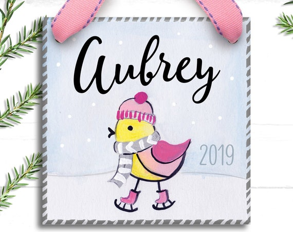 Pink Bird Ornament - Personalized Christmas Ornament - Bird Ornament - Christmas Gift - Christmas Decorations - Girl Christmas Ornament