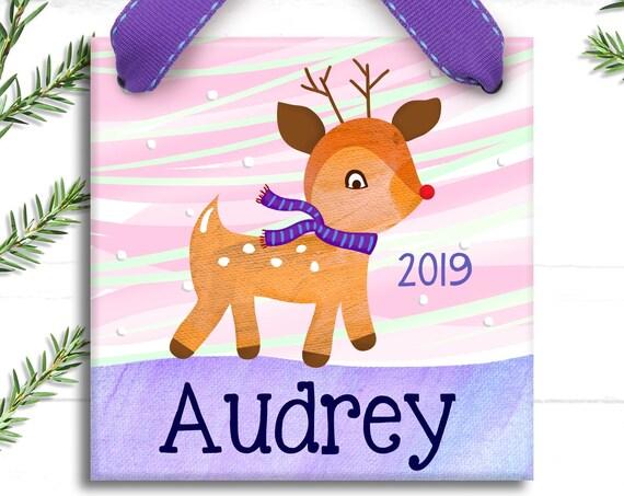 Reindeer Ornament - Rudolf the Red Nosed Reindeer - Christmas Reindeer - Personalized Kids Ornament - Reindeer Christmas Ornament  Baby Girl