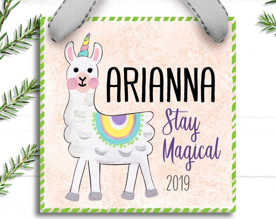 Girls Christmas Ornament for Kids - Llama Christmas Ornament - Llamacorn Little Girl - Stay Magical - Personalized Gift for Girls Tween