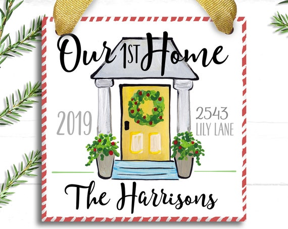 Our First Home Ornament- First Christmas New House Gift- Our First Home Ornament - Realtor Gift - Personalized Home Ornament