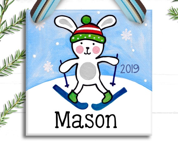 Snow Bunny - Christmas Ornament - Kids Christmas Ornament - Boy - Bunny Ornament - Personalized Kids - Personalized Ornament