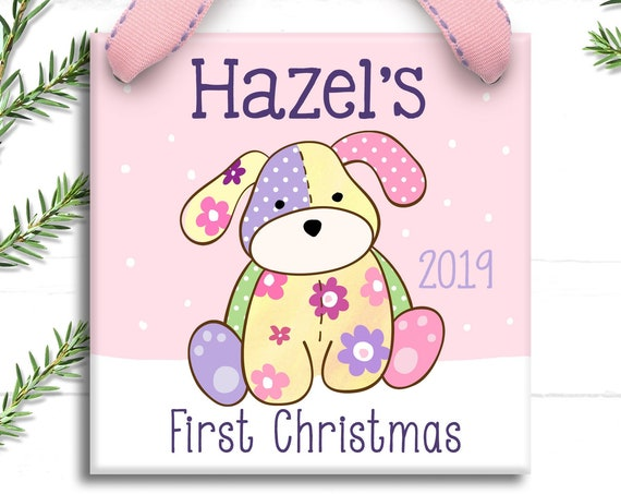 Baby's First Christmas Ornament, Personalized Baby's 1st Christmas Ornament, Puppy, Girl, Vintage