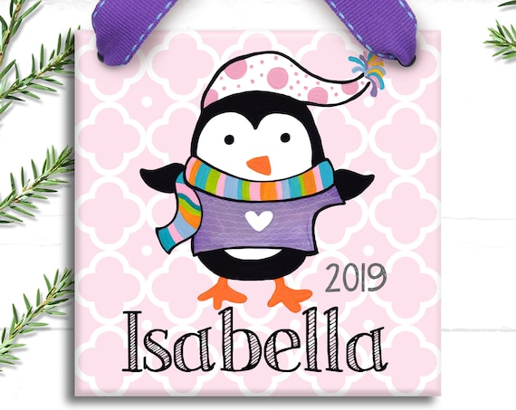 Personalized Ornament - Girl Ornament - Hand Painted Ornament - Christmas Ornament - Personalized Christmas - Penguin Ornament - Preppy