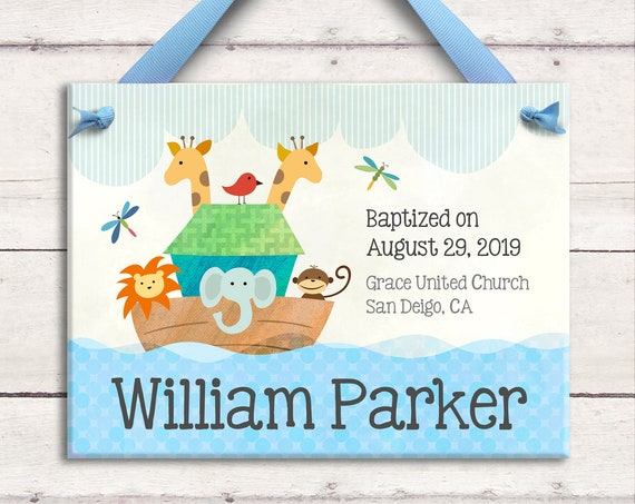 Personalized Baptism Gift - Christening Gift - Dedication Gift - Baby Baptism Gift - Noahs Arc Nursery - Baptized Boy Gift - Gift for Godson