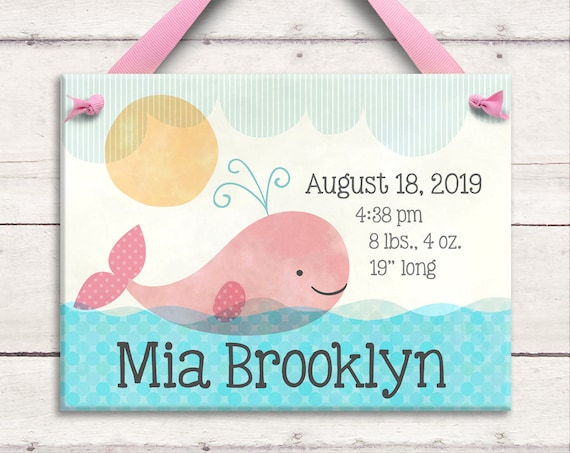 Pink Whale Baby - Nautical Nursery - Nautical Girl - Personalized Baby Girl Gifts - Pink Whale Baby Shower - Pink Whale Art - New Baby Gift