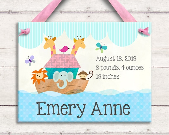 Birth Announcement Personalized Wall Tile - Noah's Ark  -  Unique  Baby Girl Boy - Nursey Decor  Baptism Christening Keepsake