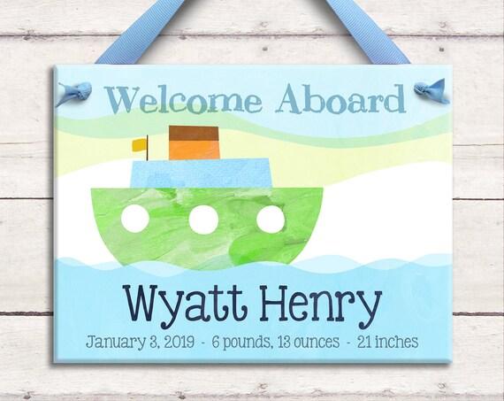 Personalized Baby Art - Nautical Baby - Nautical Nursery Decor - Nautical Baby Boy - Baby Boy Gift -  Personalized Birth Announcement Art -