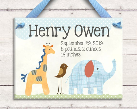 Safari Nursery - Personalized Baby - Baby Gift - Baby Room Sign - Safari Art - Pink Elephant - Baby Girl Gift - Baby Room Gift - Ceramic Art