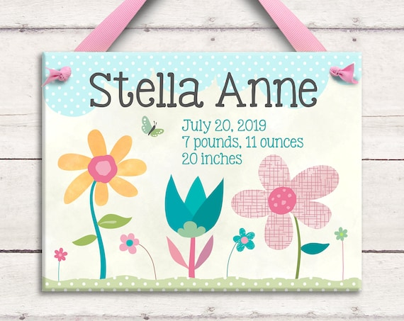 Unique Baby Gift - Baby Gift - Baby Girl Gift - Pink Flowers - Personalized Baby - Nursery Art  - Ceramic Wall Art