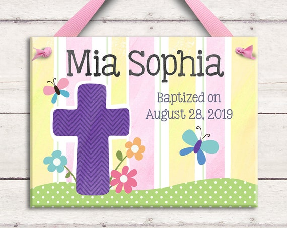 Baptism Gift Girl - Baptism Gift for Goddaughter -  Baptism Cross - Personalized Baby Girl - Baptism Gift for Godchild - Christening Gift