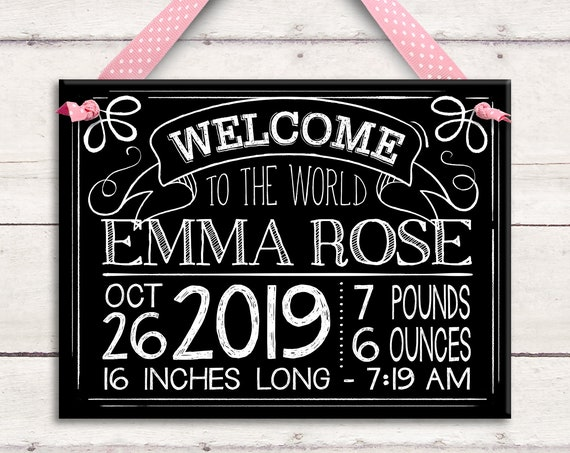 Personalized Baby Girl Chalkboard Birth Announcement - Baby Chalkboard Sign - Baby Shower Chalkboard Sign - Rustic Baby - Chalkboard Art