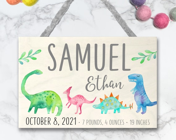 Dinosaur Wood Name Sign, New Baby Boy Gift, Personalized Dinosaur Nursery Art, Newborn Baby Gift, Birth Stats Decor, Nursery Baby Name Sign