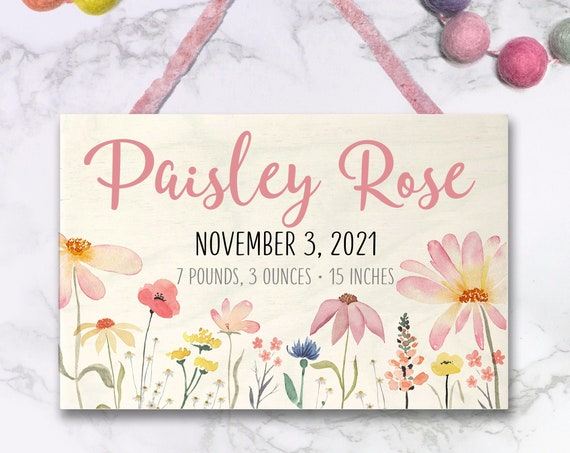 Personalized Baby Stats Sign, New Baby Gift, Baby Girl, Newborn Girl Announcement, Pink Floral Nursery, Gift for Baby Girl, Wildflower Baby