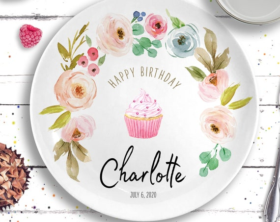 Ceramic Personalized Birthday Plate and Mug - Pastel Floral Birthday - Baby's First Birthday - Blush Pink Floral - 1st Birthday Gift Girl