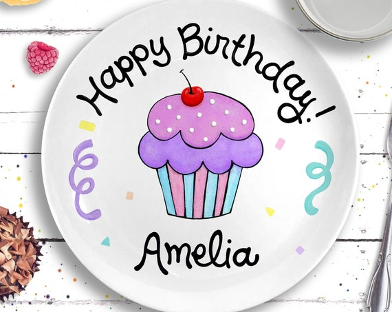 Personalized Ceramic Birthday Plate -  First Birthday Girl - Lavender Cupcake Plate - 1st Birthday Girl Gift- Happy Birthday Girl Plate