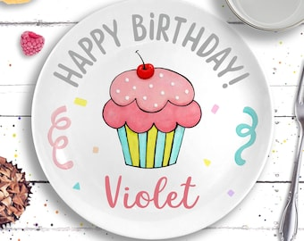 Pink Birthday Plate - Personalized First Birthday Gift - Pink Cupcake Plate - Birthday Girl - Personalized Birthday Plate 1st Birthday