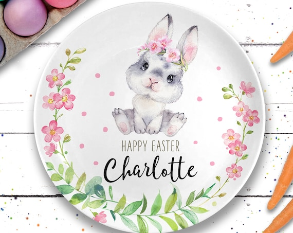 Ceramic Plate - Personalized Easter Bunny Plate - Easter Basket Gift for Girl - Easter Gift Baby Girl - Easter Decorations - Easter Decor