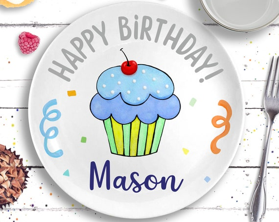 Personalized First Birthday Gift - Blue Cupcake Plate - Birthday Boy - Personalized Birthday Plate - Baby's First Birthday - 1st Birthday