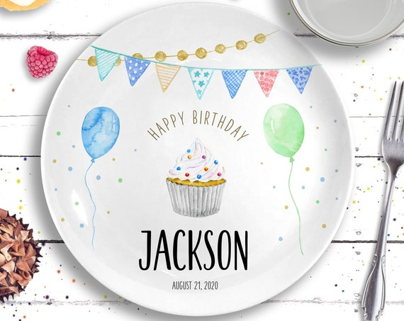 Birthday Plate Ceramic - Personalized Birthday Gift - First Birthday Party - Boys Birthday Party - 1st Birthday - Birthday Decorations Kids