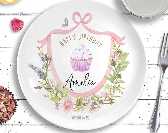 Girls Birthday Gift, Personalized Ceramic Plate, Floral First Birthday, Birthday Gift Ideas for Girls, Wildflower Birthday, 1st Birthday