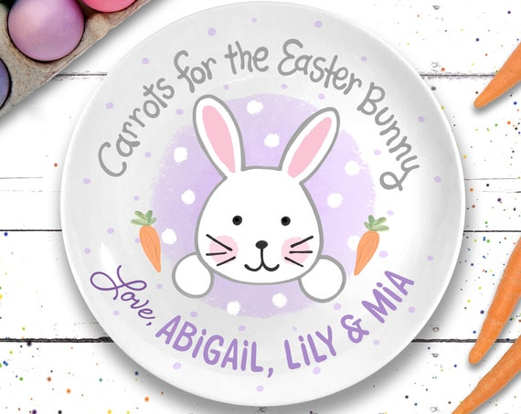 Personalized Easter Bunny Plate - Easter Basket Goodies for girls - Personalized Easter Gift - Carrots for the Easter Bunny - Kids Easter