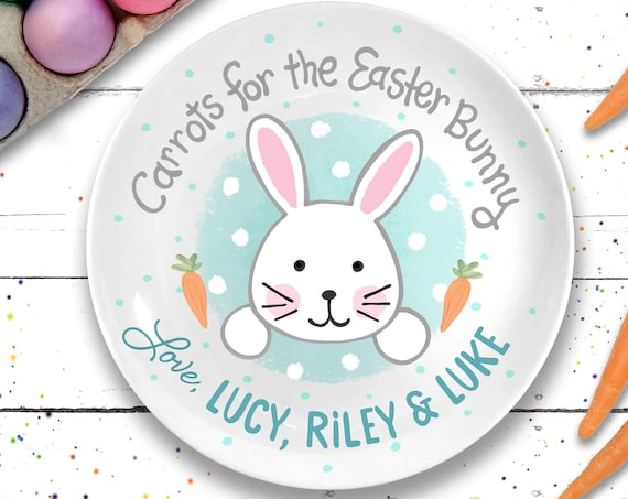Personalized Easter Gift - Ceramic Easter Plate - 1st Easter Gift - Personalized Easter Bunny Plate for Kids - Easter Basket - First Easter