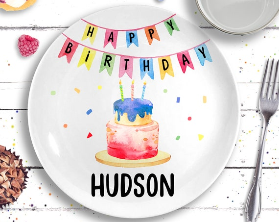 Ceramic Happy Birthday Plate - Personalized Birthday Plates for Kids - Primary Colors - Gift for Boy - 1st Birthday Gift Boy - Birthday Boy