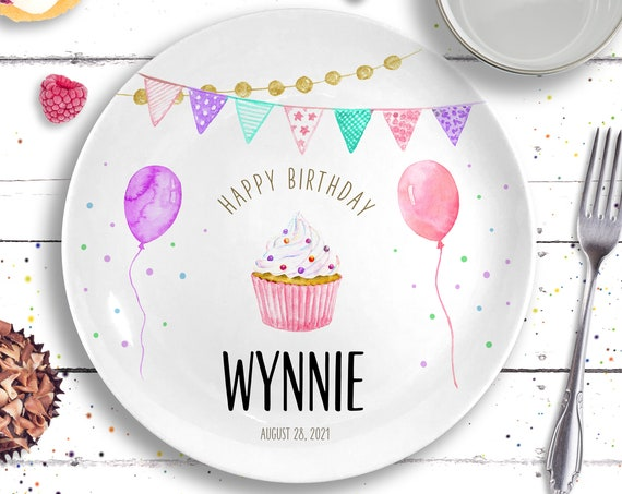 First Birthday Girl - Personalized 1st Birthday Gift - Personalized Birthday Plate - Pink Birthday Decorations - Baby Girl Birthday Present
