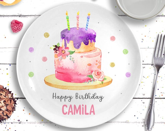Birthday Gift - Personalized Happy Birthday Plate - Ceramic Cake Plate - Baby Girl Birthday - Personalized Little Girl Gift - 1st Birthday