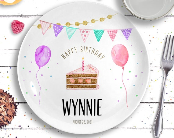 Pink Birthday Cake Plate - Personalized Ceramic Birthday Plate - Birthday Gift for Girl - 1st Birthday Party Girl- Baby Girl First Birthday