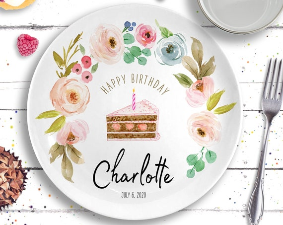 Personalized Ceramic Happy Birthday Plate - Girls Birthday Party - First Birthday Gift Girl - Girls 1st Birthday - Pastel Floral Cake Plate