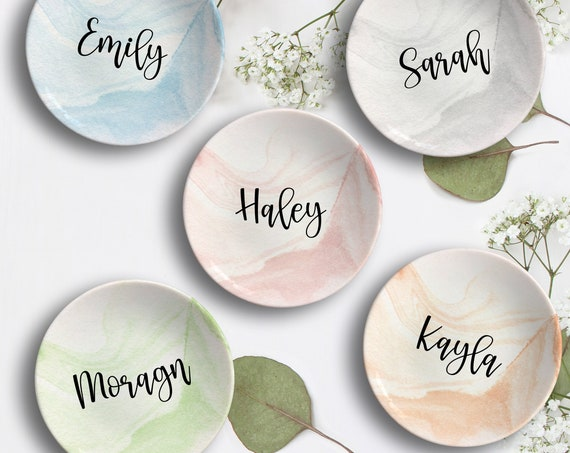 Bridal Party Gift, Marble Bridesmaid Ring Dish, Personalized Bridesmaid Gift, Jewelry Dish, Bridal Shower, Gift for Wedding Party, Blush