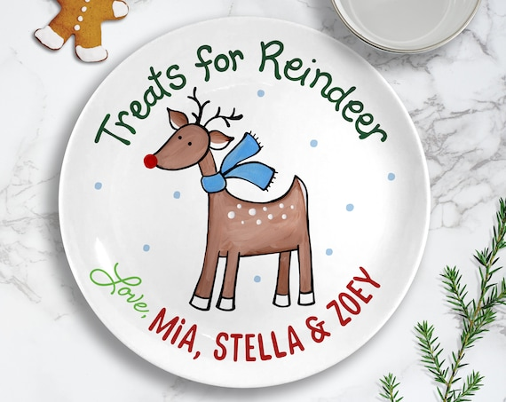 Christmas Plate for Kids - Personalized Ceramic Christmas Eve Plate - Reindeer Treats - Christmas Decorations - Cookies for Santa Plate Set
