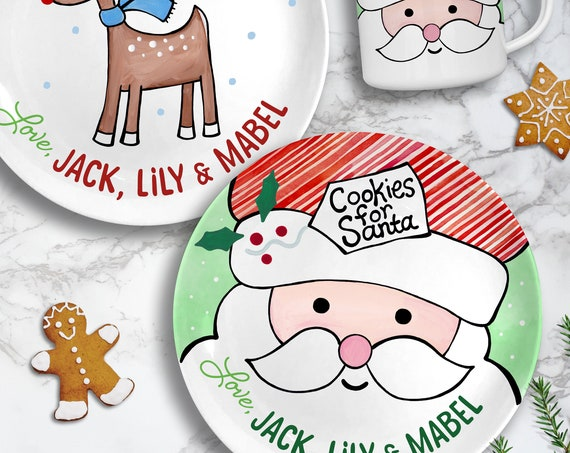 Cookies for Santa Plate Set - Kids Personalized Gifts -  Milk for Santa Mug - Gifts for Kids & Babies - Treats for Reindeer