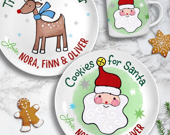Santa's Cookies Plate, Christmas Eve Plate for Santa, Ceramic Cookies for Santa Plate and Mug, Christmas Gift for Kids, First Christmas Gift