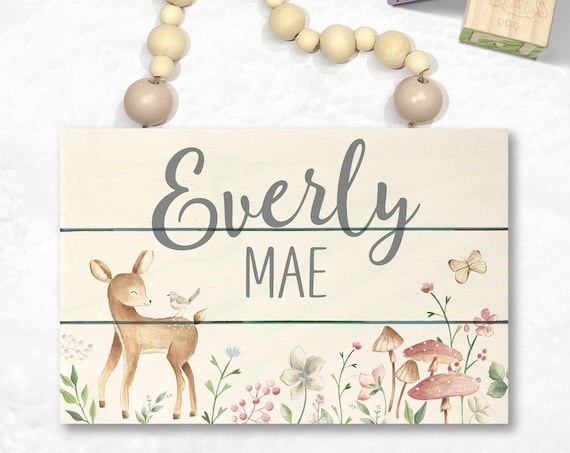 Woodland Wood Name Sign - Woodland Nursey Decor - Woodland Animals  - Personalized Girl Room - Custom Baby Name Sign - Woodland Baby Shower