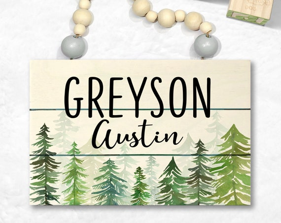 Woodland Nursery Decor - Custom Wood Sign - Personalized Boy Nursery Wall Art - Baby Name Sign - Rustic Nursery Name Sign - Baby Boy Gift