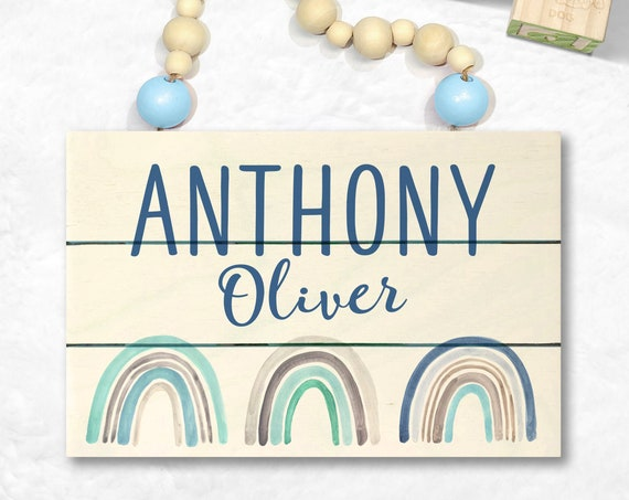 Personalized Baby Name Sign - Rainbow Nursery Art - Custom Wood Sign - Blue Rainbow Baby Boy - Rainbow Baby Shower - Rainbow Art - Shiplap