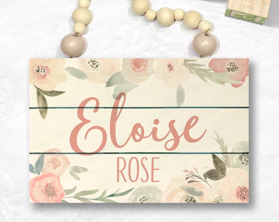 Personalized Wood Name Sign - Blush Pink Wall Art - Baby Girl Nursery Sign - Custom Baby Sign - Blush Nursery Decor - Custom Baby Name Sign