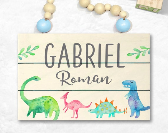 Dinosaur Wood Name Sign - Dinosaur Decor - Dinosaur Nursery Art - Personalized Boys Room Decor - Custom Baby Name Sign Dinosaur Baby Shower