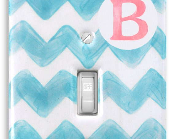 Personalized Preppy Light Switch Cover Plate -  Baby Chevron -  Wall Decor -  Baby Nursery  -  Kids -   Childrens Room
