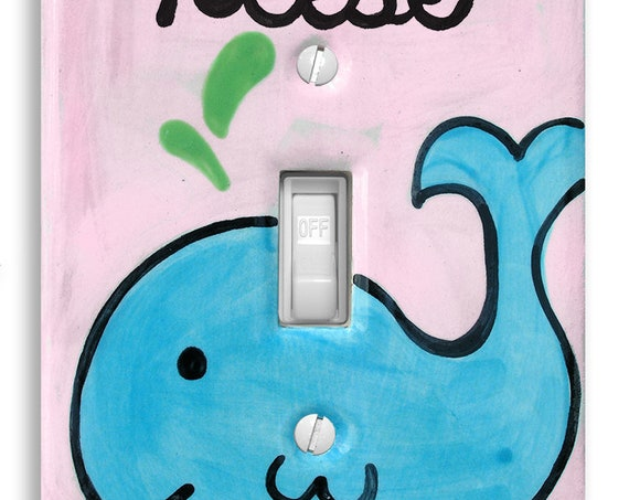 Baby Whale Decor - Light Switch Plate Cover - Personalized - Nautical Nursery - Hand painted