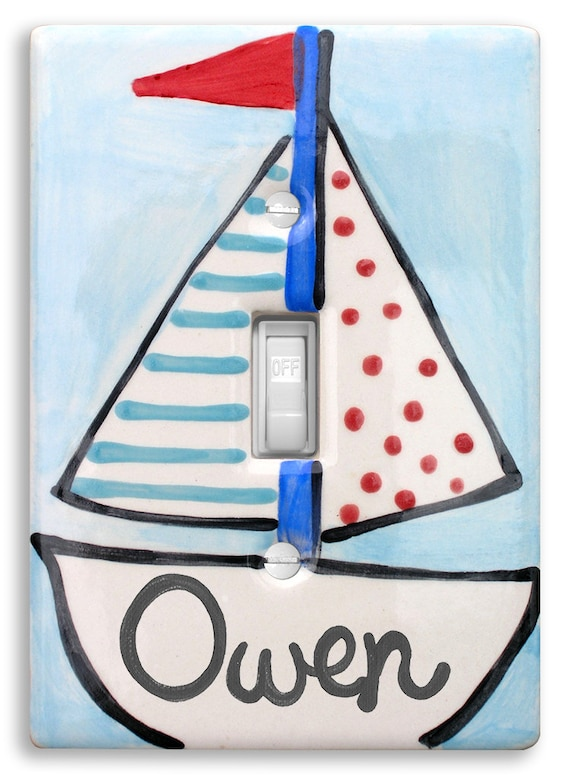 Nursery Nautical Personalized Light Switch Cover Plate  Hand Painted   Baby Boy Sailboat   Baby Gift - Shower Gift - Personalized Kids Decor
