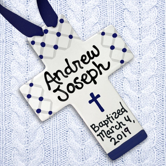 Christening Gifts - Christening Gifts for Boys - Navy Blue Cross - Baby Boy Christening - Godchild Gift -  Personalized Babptism Gift