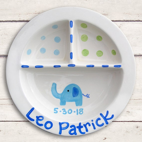 Elephant Baby Dish - Kids Plate Personalized - Hand Painted Ceramic Baby Keepsake   -  Birth Announcement  - Divided Elephant Plate