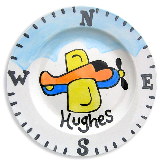 Personalized Hand Painted Airplane Plate - Little Pilot Plane - Kids Dinnerware - Ceramic