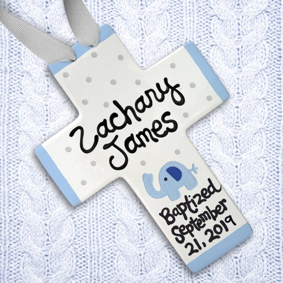 Personalized Baptism Cross - Blue Elephant - Baptism Gift Boy - Personalized Baptism - Unique Godchild Gift - Bible Verse