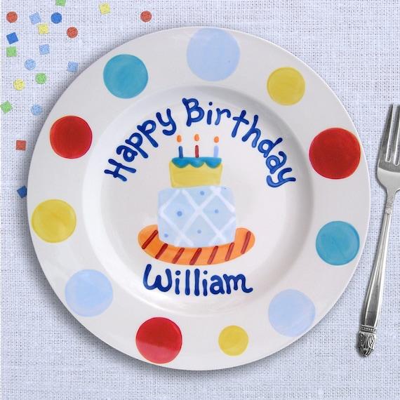 Kids Birthday Party - Birthday Boy - Custom Birthday Plate - Cake Plate - Hand Painted Ceramic Personalized - Birthday Baby's First Birthday