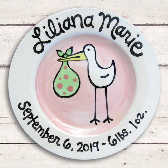 Personalized Baby Girl - Gift for Baby - Pink Stork - Baby Plate Personalized - Girls Birth Announcement Plate - New Mom Gift - Birth Stats