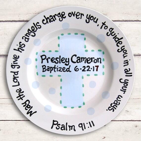 Baptism Gift Boy - Godchild Gift - Godchild Keepsake - Personalized Godchild Gift - Godchild Plate- Unique Godchild Gift - Godchild Card
